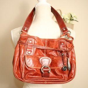 Francesco Biasia Italy Brown Leather Bag Purse EUC